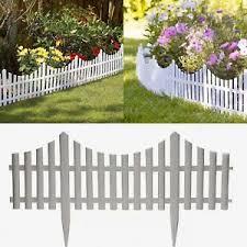 1 White Picket Plastic Fencing Wooden Effect Lawn Border Garden Edging Ebay