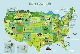Map Of United States Fabric Sticker Peel And Stick Removable Usa Wall Royalwallskins