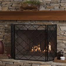 prater 3 panel iron fireplace screen