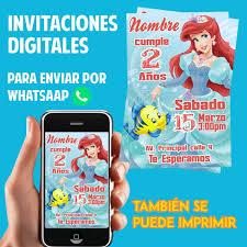 Tarjetas De Invitacion Whatsaap Cumpleanos Sirenita Ariel