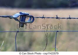 Barbed Wire Barbed Wire And Wire Connector Attached To Metal Fence