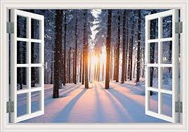 Amazon Com Greathomeart 3d Wall Sticker Decals Warm Sunshine In Winter Window Snow Scenes Wall Murals Art For Bedroom Decor Art Vinyl Removable Wallpaper Adhesive 32 X48 Home Kitchen