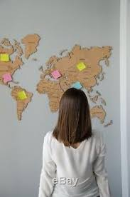 Cork Board World Map Push Pins Wall Home Decor Travel Large Map Office Room