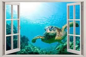 Sea Turtle 3d Smashed Wall Sticker Decal Home Decor Art Mural Animals J1167 Home Garden Children S Bedroom Boy Decor Decals Stickers Vinyl Art