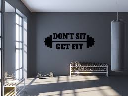 Gym Wall Decal Don T Sit Get Fit Workout Quote Wall Etsy Gym Wall Decor Gym Room At Home Gym Wall Decal
