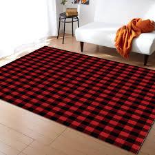 Red Black Plaid Geometric Buffalo Check Carpets For Living Room Bedroom Area Rug Kids Room Play Mat 3d Printed Home Large Carpet Carpet Aliexpress
