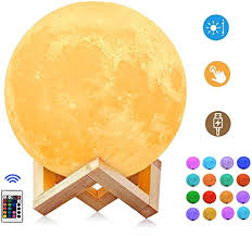 Moon Light 5 9 Inch 3d Moon Lamp 16 Color Switchable By Remote Touch Control Dimmable