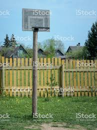 Basketball Basket In Garden On Farm The Background Of The Fence Stock Photo Download Image Now Istock