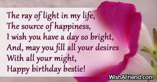 the ray of light in my best friend birthday saying