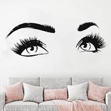Eyelashes Wall Sticker Room Decoration Vinyl Eyelash Lashes Wall Decal Make Up Women Beauty Salon Decal Customized Decals Hy37 Wall Stickers Aliexpress