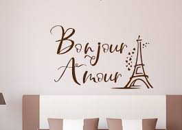 Bonjour Amour Hello Love Eiffel Tower Wall Decal Home Decor Paris Wall Art Romantic Bedroom Decor