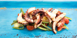 Grilled octopus with green beans and ...