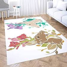 Amazon Com Vintage Area Rug Shorping 3x5 Flower Door Area Rugs Modern Two Flower Deer Antlers Space Area Rug Rugs For Living Room Large Area Rugs Area Rug For Kids Kitchen Dining