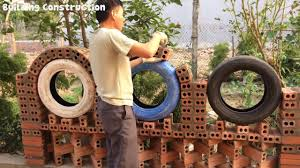 The Technique To Build A Curved Arch Fence Is To Use Broken Tires To Make Molds Creative Idea Youtube