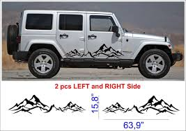 2pcs Mountain Fender Side Decal Sets Graphic Jeep Wrangler Rubicon Sahara N5 Oracal Jeep Wrangler Sahara Jeep Wrangler Accessories Jeep Decals
