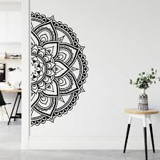 Half Mandala Wall Decal Half Mandala Headboard Wall Sticker Etsy