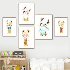 Llama Alpaca Animal Art Prints Nursery Wall Art Canvas Painting Nordic Posters And Prints Wall Pictures Baby Kids Room Decor No Frame Wish