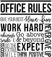 Amazon Com Vinyl Wall Art Decal Office Rules Give Your Best Work Hard Never Give Up Think Positive 40 X 36 5 Inspirational Optimistic Quote Sticker For Meetings Conference Room Work