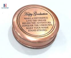 com happy graduation quote engraved brass compass