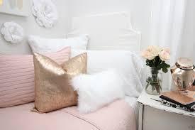 blush rose gold and faux fur dorm
