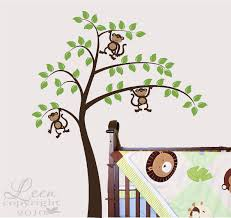Cute Monkeys In A Large Tree Vinyl Wall Decal