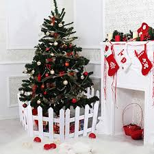 Amazon Com Aneco 8 Pack Christmas Wooden Picket Fence Wood Christmas Tree Fence Decoration For Xmas Wedding Party Decor Home Kitchen