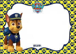 Free Printable Paw Patrol Chase Invitation Template Invitacion