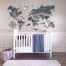 Amazon Com World Map With Animals Wall Decal Baby Boy Nursery Wall Decor Handmade