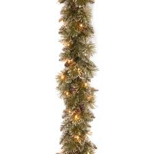 9 pine pre lit garland with 50 clear