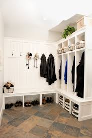 Mud Room Lockers Entry Contemporary With Red Coat Hangers Wallpaper