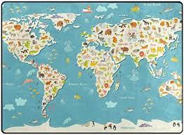 Amazon Com Cooper Girl Animals World Map Kids Area Rug Learning Carpet For Living Room Bedroom 5 3 X4 Furniture Decor