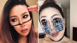 makeup artist creates optical illusions
