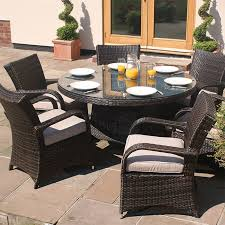 6 seater brown rattan cairo round table