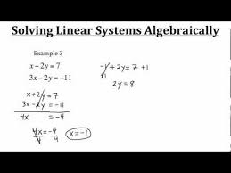 solving linear systems algebraically