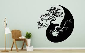 Tree Bonsai Wall Decal Yin Yang Vinyl Sticker Chinese Tree Etsy