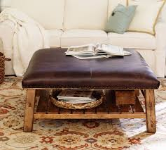 caden square ottoman brown leather