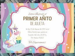 20 Invitacion Cumpleanos Bautismo Primer Ano Unicornio 480 00