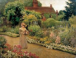 victorian garden painting at