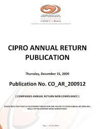 cipro annual return publication