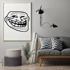 Funny Troll Face Wall Sticker Decal Meme Sticker Home Bedroom Wall Decoration A00372 Wall Stickers Aliexpress