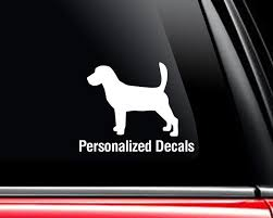 Beagle Vinyl Window Decals Make A Decal Online W Decal Etsy Vinyl Window Decals Dog Decals Dog Breed Decal
