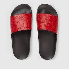 gucci signature slide sandal red