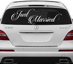 Amazon Com Slaf Ltd 28 X 10 Just Married Vinyl Car Decal Design Wedding Cling Banner Decoration Quote Sticker Decals Back Car Window Mirror Free Random Decal Gift Home Kitchen