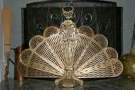 victorian peacock fireplace screen