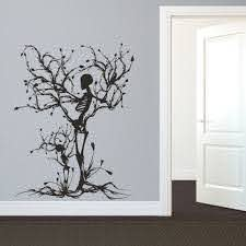 Amazon Com Mairgwall Gothic Wall Decal Halloween Decor Skeleton Art Sticker Tree Wall Art For Living Room Large Black Home Kitchen