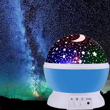 Starry Kids Room Desk Lamp Rotating Star Moon Sky Rotation Projector Night Light