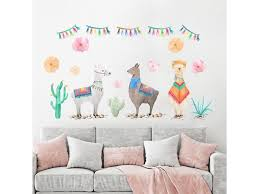 Cartoon Animals Alpaca Llama Wall Stickers Beautiful Cactus Plant Decals For Living Music Birthday Party Theme 40x60cm Pvc Newegg Com