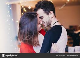 cute sensual young couple love smiling