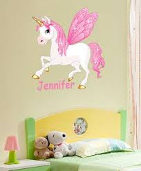 Fairy Unicorn Horse 24 Inch Tall Vinyl Wall Sticker Personalised Childs Name Personalized Wall Decals Unicorn Wall Decal Wall Stickers Uk