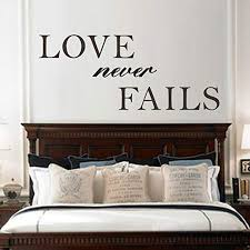 Amazon Com Digtour Wallart Love Never Fails Romantic Wall Decal Wall Sticker Vinyl Art Love Quotes Brown X Large Home Kitchen